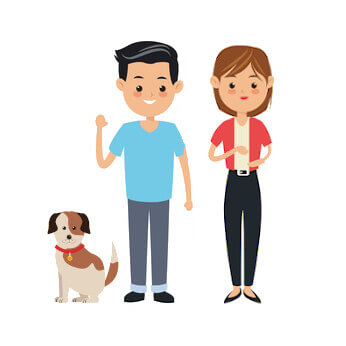 Family of 2 adults with 2 dogs