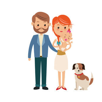 Working couple with baby and 2 small dogs