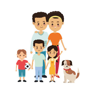 Australian Chinese family of 5 with 2 small dogs
